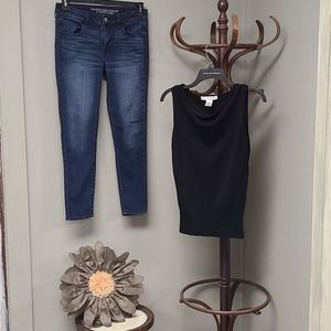 AEO Jeggings and Geoffrey Beene Sport Top